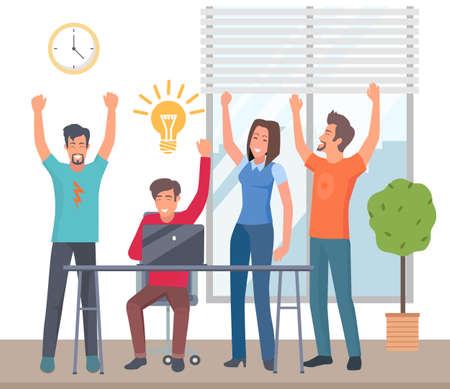 Happy colleagues with best business idea. Marketing strategy concept, business team develops solutions. People sitting at a table joyfully put their hands up together. The concept of a successful deal