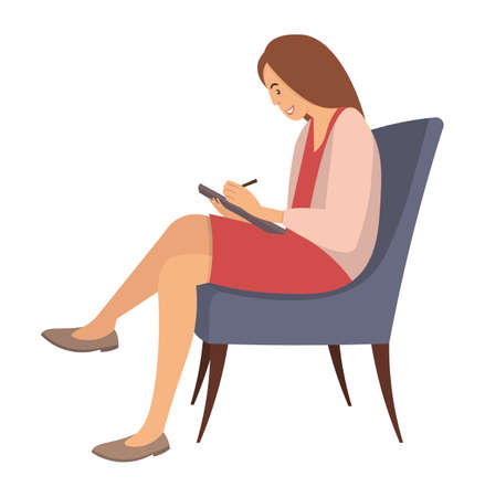 Adult woman is sitting on a chair and writing in notebook. Psychotherapist with notepad in hand writes down and asks question. Female character is sitting on a soft chair isolated on white background Ilustração