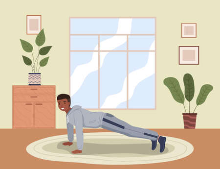 Home exercise. Young man in sports wear doing push-ups at home. How to keep fit indoors. Fitness and morning workout in cozy interior. Healthy lifestyle and wellness concept. Gymnastics practice