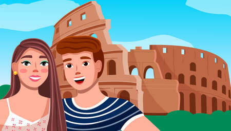 Boy and girl on the background of the coliseum. Young couple travel italy, visit architectural monuments. Happy smiling tourists man and woman stand near historical landmark of italy amphitheater