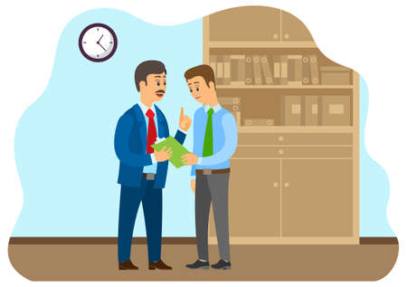 Business communication. Businessman transfers paper to an employee. Boss accepts documents from subordinate. Two businessman working in office. Flat illustration regular meeting office companionship Stock Illustratie