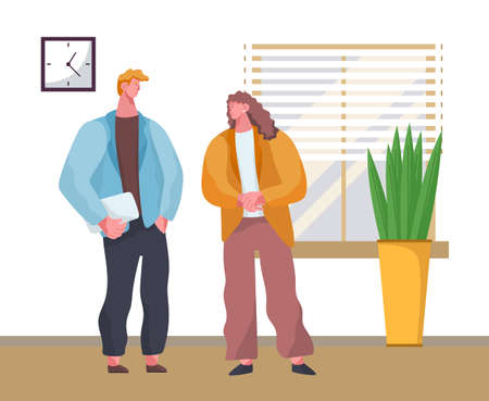 Businessmen office workers, partnership flat vector illustration. Company staff cooperation, business project planning. Co-workers cartoon characters. Employees standing and talking together