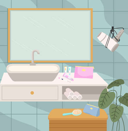 Modern sink table, mirror and bathtub furniture flat vector illustration. Bathroom interior design. Empty bath room. Items for skin and hair care. Bright design and planning the layout of the room