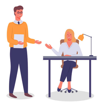 Meeting of colleagues in the office. Woman smiling sitting at a table, man standing holding paper document. Project management and teamwork concept. Businessman brought a report for verification