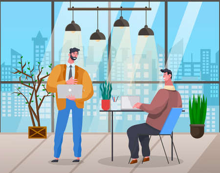 Office meeting and consideration of working affairs. Office workers men discussing project. Businessmen dressed in formal clothes siting at a table with laptop, standing in room and talking in evening Illustration