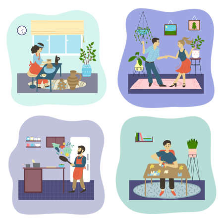 People and their creative artistic hobbies set of cartoon characters doing their favorite things. Boy puzzles, girl sculpts from clay, male cooks in the kitchen, couple man and woman dancing at home