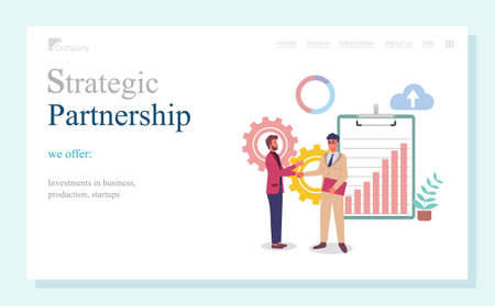 Strategic partnership, investments in business, production, startups, landing page of business website, businessmen shaking hands, partners, colleagues, successful deal or agreement, business meeting Stock Illustratie