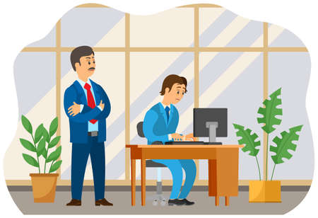 Dissatisfied boss and employee working at his workplace at a table with computer cartoon illustration. Hard day, standing chief manager in a suit is speaking with a stressed unhappy subordinate