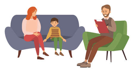 Conversation between mother, child and male psychologist or psychotherapist makes notes in a notebook. Family psychotherapy, psychotherapeutic aid for children with mental problems, consultation Ilustracje wektorowe