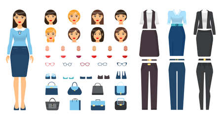 Businesswoman in formal wear. Set with changeable elements, constructor. Different clothes, suits, trousers, skirt, jacket, faces, type of skin, color of lipstick, eyeglasses set, shoes female bags