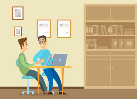 Young man is sitting at a desk with laptop, his colleague is pointing to a screen and giving advice. Office workers discussing work moments. Business meeting and communication. Friendly team work Illustration
