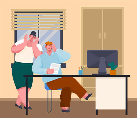 Office deadline. Business workers managers stress hold their head with their hands on workplaces at work, vector cartoon characters in panic. frightened colleagues saw an error in paper document