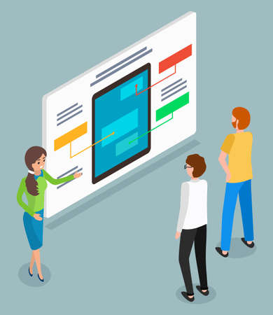 Presentation at board, woman manager show infographics to customers with digital tablet or new model of electronic device, communication with buyers, partners, 3d isometric illustration in flat style