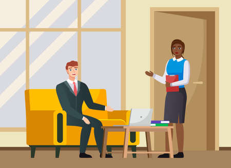 Office workers discussing matters. Businessmen dressed in formal clothes with laptop talking. Business meeting and consideration of working issues at workspace. Woman talking to a man colleague