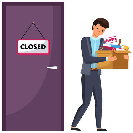 Layoff concept. Boss dismissed employee. Unhappy fired man leave the office with things in box. Unemployment dismissal of fellow workers. Crisis, jobless, employee standing near a closed door