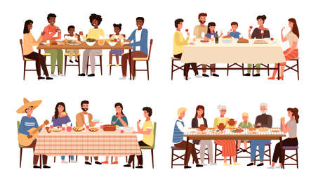 Set of theme of people having family dinner in traditional styles of countries of world. Cartoon characters in national costumes taste dishes vector illustration. Family gathering around dining table