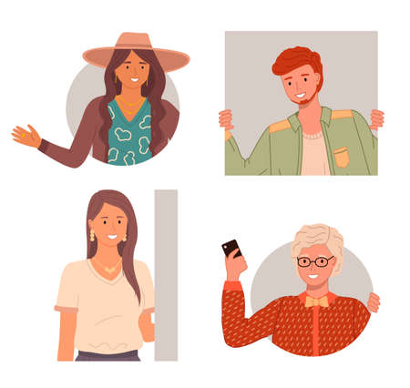 Set of happy curious looking people peeping from behind the wall or peek out the window. Red-haired young man, women with long brown hair and a hat, female in glasses with a phone in her hand