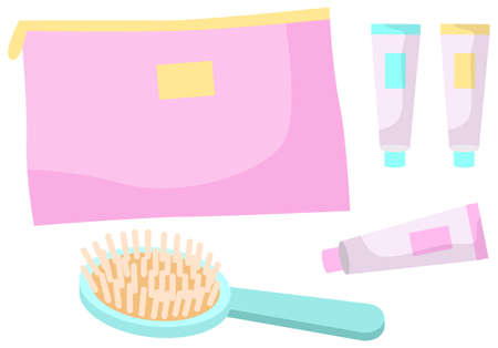 A set of care items vector illustration isolated on white. Comb and multi-colored tubes of cream near the cosmetic bag. Storage bag for cosmetics and care products. Hair and scalp care products