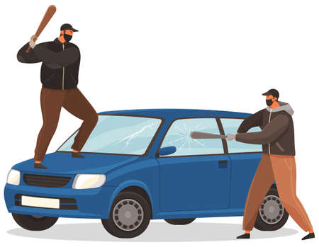 Two young vandals destroy the car. Bandits characters in masks hit automobile with baseball bats. Bandits smash windows in a minicar isolated on white background. Aggressive people criminals