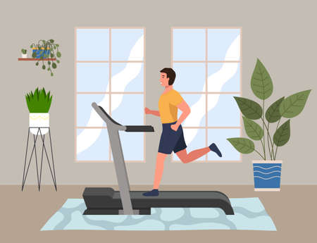 A sporty man is engaged in a hall on the treadmill. Running, playing sports at home. Cardio workout. Exercising in the gym in the morning. Running and fitness indoors. Healthy lifestyle concept Illustration