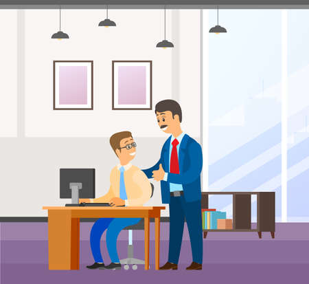 Two businessman communicates. Good deal, concept of business partnership vector cartoon style characters conclude success agreement. Man chief praises a young smiling subordinate holding his shoulder Stock Illustratie