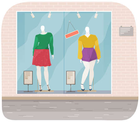 Vector design of a mannequin for women s clothes showcase. Female figure full length fashion clothing store equipment on blue background. Human body replica to show model clothes. Dress shop