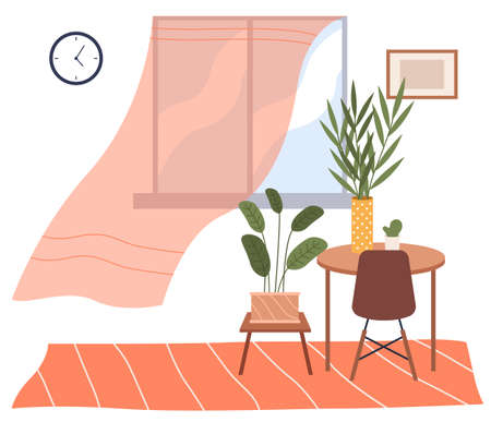 Vector background of living room with window, coffee table with plants and flower in vase. Indoor furniture design, modern home interior elements. Contemporary furniture for living room or home office