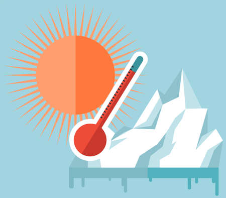Melting glaciers due to global warming. Rising air and water temperatures displayed on thermometer. Sun heats surface of Earth. Planet heats up and causes glaciers to melt and water levels rise Illustration
