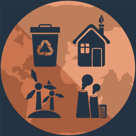 Silhouettes of objects destroying and saving ecology of Earth on background of planet. Waste recycling, use of alternative energy sources without harm to environment. Outlines of plants polluting air