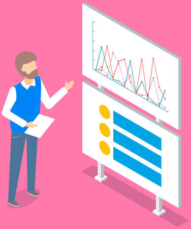 Business analyst, statistics. Professional businessman analyzing growth rates on data presentation. Marketing research concept. Male character explains the graphs pointing with hand on whiteboard