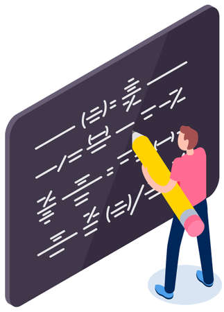 Businessman with big pencil planning strategy. Male character draws symbols on blackboard. Man stands about board showing scheme. Guy with pencil writes dashes. Guy draws isolated on white background