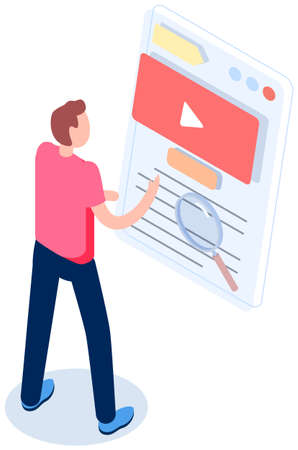 Man studying paper. Male character checks and grades list. Online survey concept. Freelancer standing near big checklist with video recording symbol. Guy studies form with video data and works with it