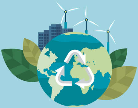 Production of eco friendly electricity with wind power station. Providing city with energy without harm to environment. Earth with recycling symbol. Caring for nature and preserving planet concept