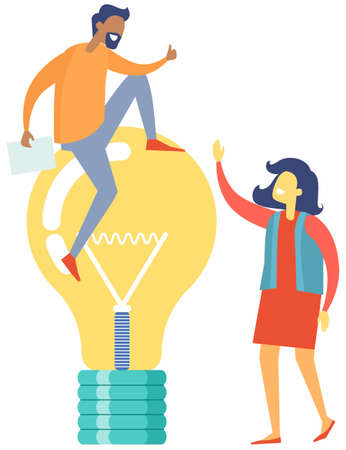 Great idea and cooperation in business with businessmen partners looking at idea bright light bulb, teamwork. Man and woman discussing solution to increase profits, decide on new investment activity