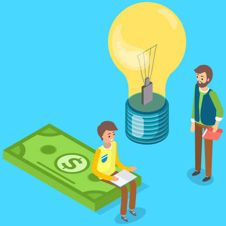 Great idea and brainstorming in business with businessmen partners looking at idea bright light bulb. Two man are discussing solution to increase profits, decide on new investment financial activity