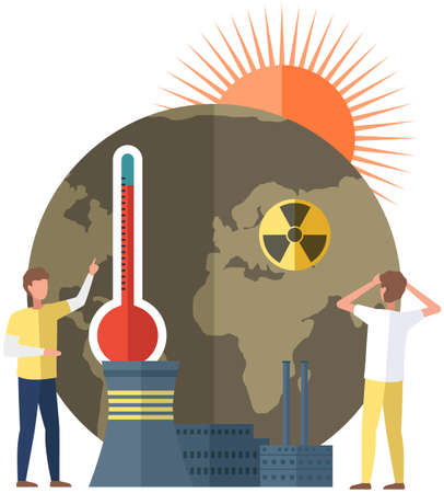 Earth is victim of global warming. Save planet concept. People make world suffer from destroyed soils and radiation emissions. Temperature of land is rising. Factories and smoke pollute planet