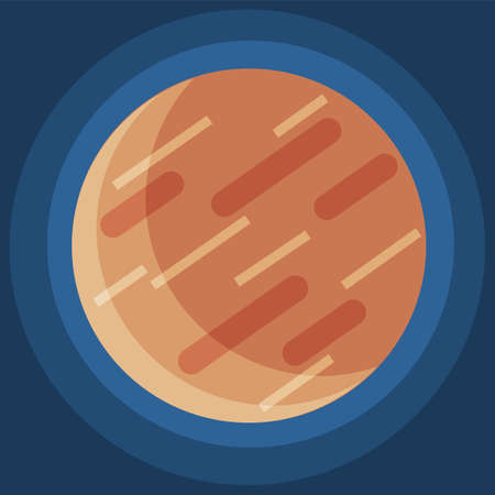 Cartoon fantastic planet on dark blue space background. Cosmic object solar system astronomical element. Space game element vector objects round shape. Celestial body in orbit around a star