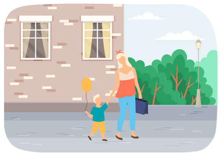 A woman with a child are walking on the street. Mother with son spends time outdoors vector illustration. Mom walks with a small kid with a yellow balloon in his hand in the open area summer day
