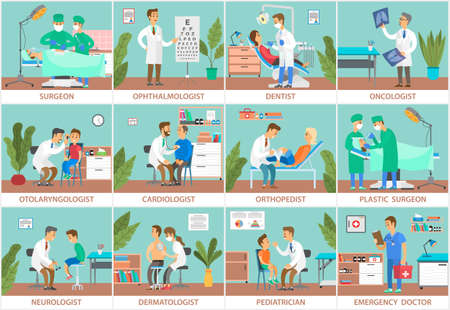 Set of scenes on the topic of study of symptoms and collection of patient data. Physician gives advice on caring for health of people. Doctor examines patient s condition, various medical specialties Vecteurs