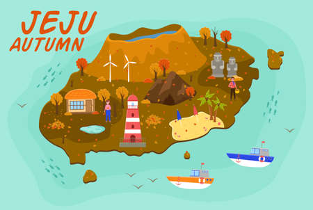 Jeju island travel map vector illustration. Attractions in flat design. Green island in south korea with mountaines and waterfalls. Autumn travel, active lifestyle. Vacation in an Asian country