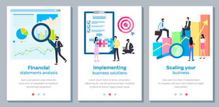 A set of banners Scaling your business landing page template, financial statements analysis, implementing business solutions. Group of specialists develops a growth plan concept with businesspeople
