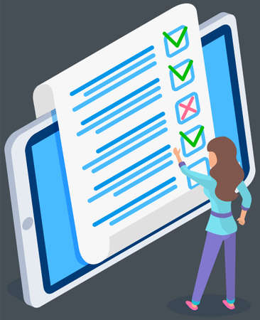 Teenager studying questionnaire. Female character checks and grades exam on tablet screen. Woman touching sheet of paper with answers. Character stands near big checklist. Girl stands and studies form Ilustración de vector
