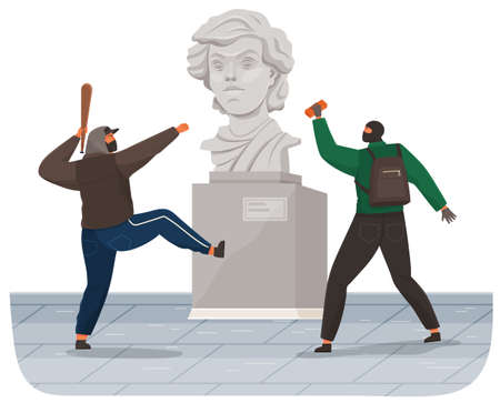 Vandals damaging the monument in public park. Bandits in masks and hoods destroy city property. Street gangsters and vandalism concept. Cartoon flat vector illustration with a man breaks the statue Ilustración de vector