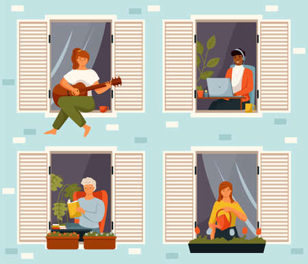 People enjoy clean air and view from the window, watering flowers and playing the guitar, working with a laptop and reading books. Persons stay at home, daily life routine, hobby time relaxing Vektorové ilustrace