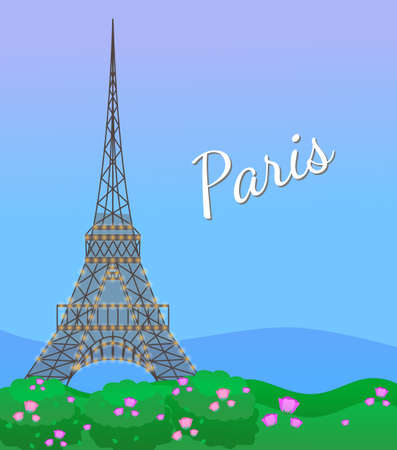 Eiffel tower in Paris, post card. Paris poster with blooming rose flowers and eiffel tower. Card with written word Paris and famous european architectural attraction. Symbol of the capital of France