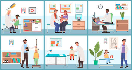 A set of illustrations about checking health status of children. Cartoon characters at the doctor s appointment. The therapist collects indicators of data to make a diagnosis. Medical service concept