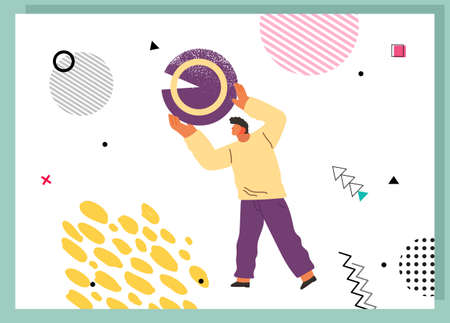 Young man holding and organizing abstract circular geometric shape overhead flat vector illustration. Person standing with round object in hands on white background. Business building concept