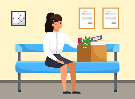 Unhappy upset young business woman holds a box with her things and leaves the previous office. Dismissed frustrated businesswoman sitting on the bench in corridor. Failed job and dismissal concept Vector Illustratie