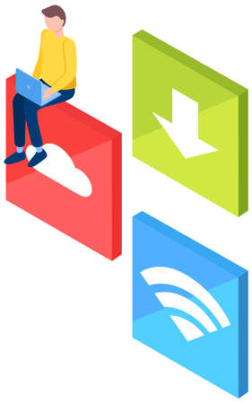 Man with signs of cloud, arrow to down and wi-fi. Freelance guy works on laptop vector illustration. Male character using wireless network to surf internet. Freelancer uses the cloud to store files