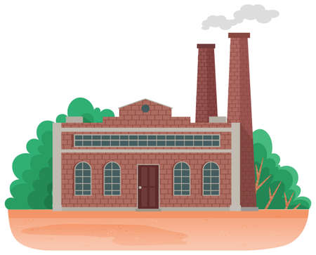 Mills and factories polluting environment. Industrial structures with pipes and smoke with gray clouds. Production piping pollute the atmosphere. Industrial plant on nature background with trees